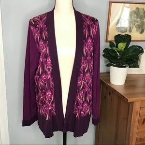Coldwater creek silk blend open front cardigan 1x